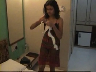 Dp fhg 751. Skinny indian wife on vacation changing bra and panty